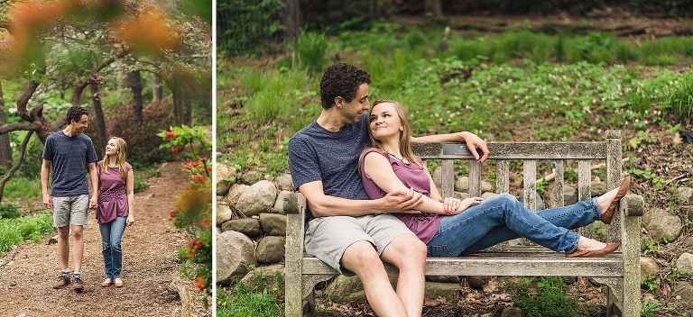 couple walking and sitting on bench at the Nichols arboretum